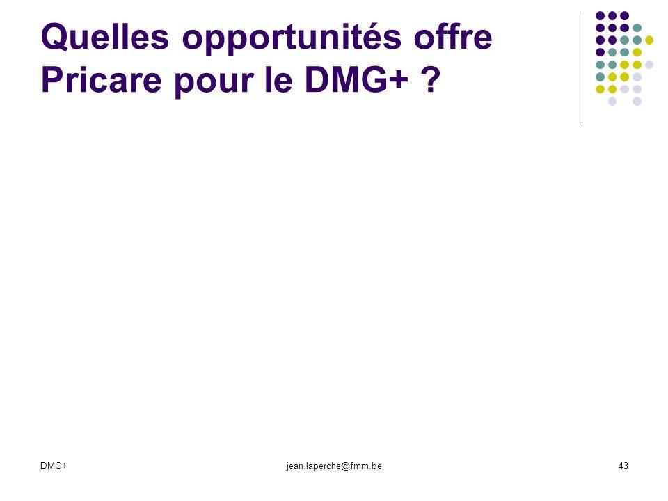 DMG+jean.laperche@fmm.be43 Quelles opportunités offre Pricare pour le DMG+ ?