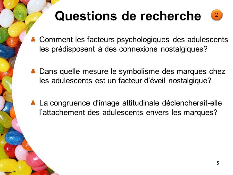 Questions de recherche Comment les facteurs psychologiques des adulescents les prédisposent à des connexions nostalgiques? Dans quelle mesure le symbo