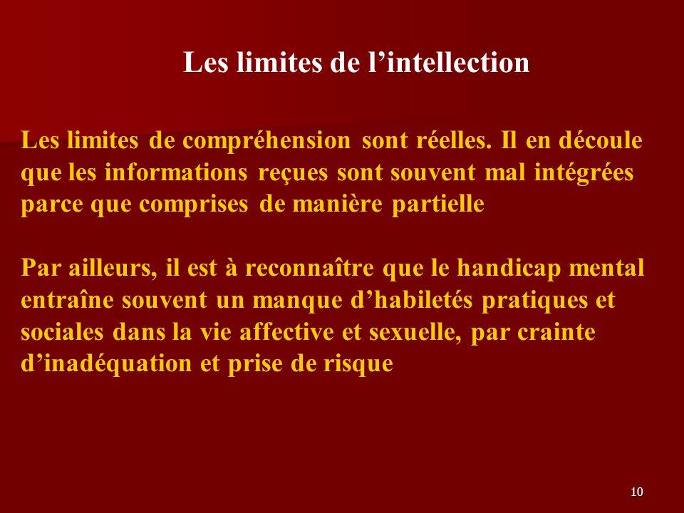 10 Les limites de lintellection Les limites de compréhension sont réelles.
