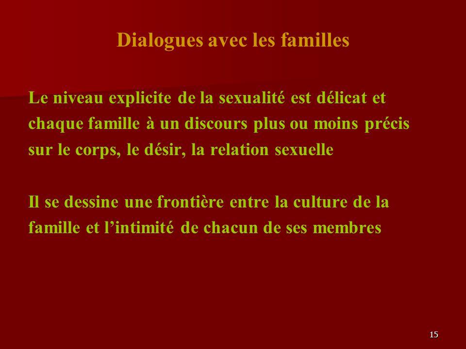 15 Dialogues avec les familles Le niveau explicite de la sexualité est délicat et chaque famille à un discours plus ou moins précis sur le corps, le désir, la relation sexuelle Il se dessine une frontière entre la culture de la famille et lintimité de chacun de ses membres