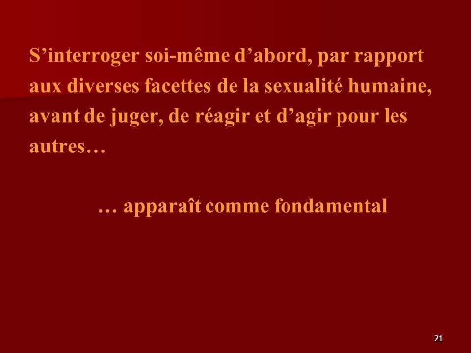 21 Sinterroger soi-même dabord, par rapport aux diverses facettes de la sexualité humaine, avant de juger, de réagir et dagir pour les autres… … apparaît comme fondamental