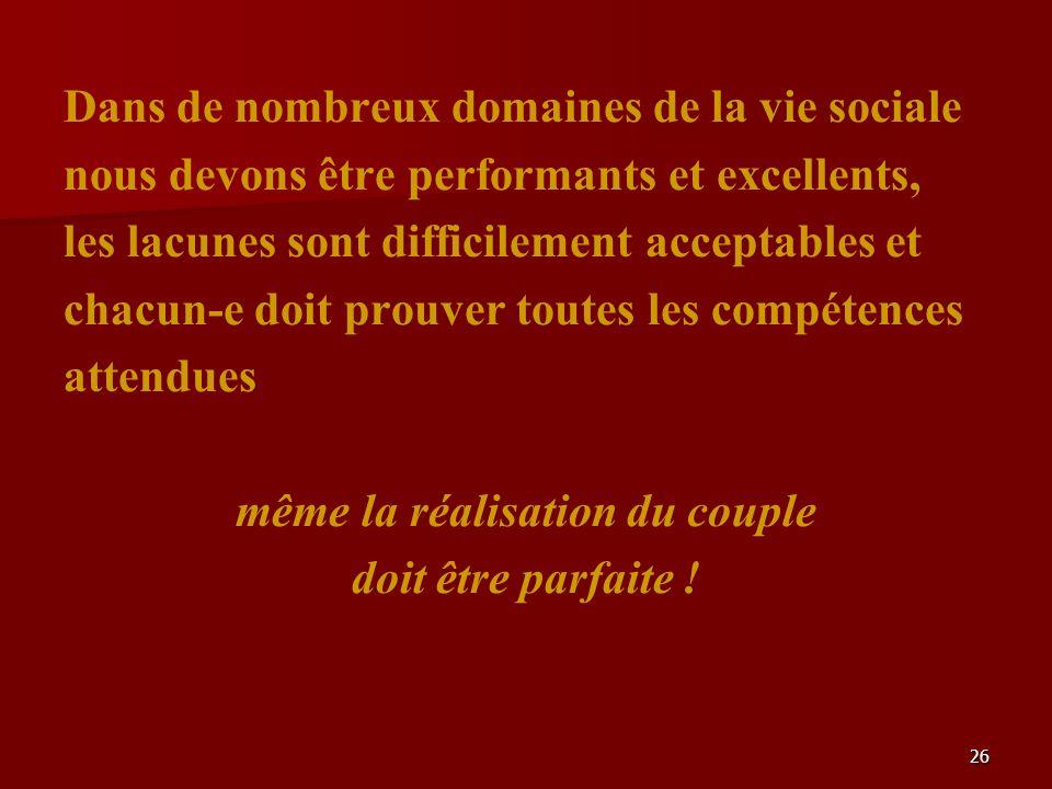 26 Dans de nombreux domaines de la vie sociale nous devons être performants et excellents, les lacunes sont difficilement acceptables et chacun-e doit prouver toutes les compétences attendues même la réalisation du couple doit être parfaite !