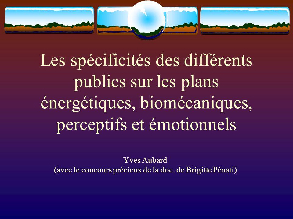 Les spécificités des différents publics sur les plans énergétiques, biomécaniques, perceptifs et émotionnels Yves Aubard (avec le concours précieux de