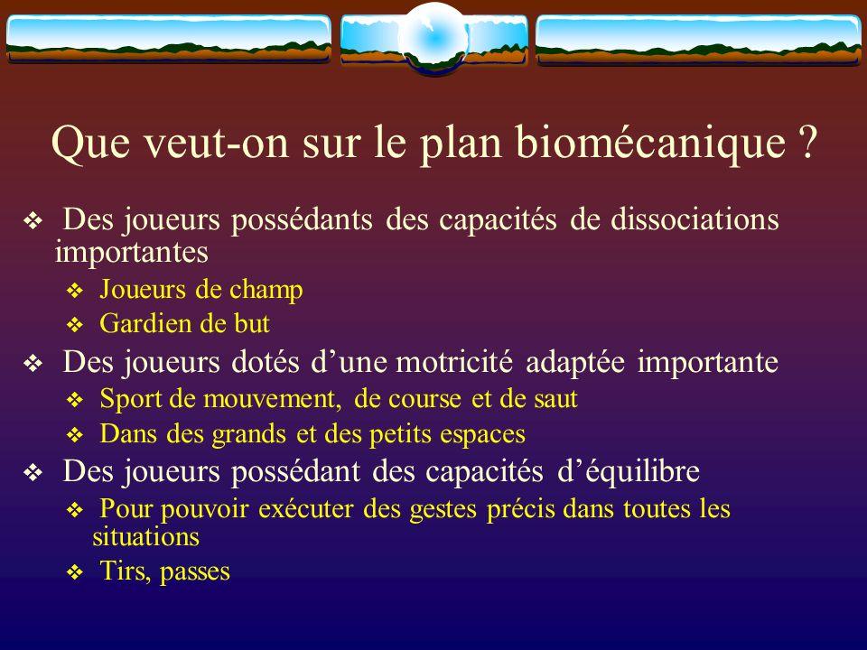 Que veut-on sur le plan biomécanique ? Des joueurs possédants des capacités de dissociations importantes Joueurs de champ Gardien de but Des joueurs d