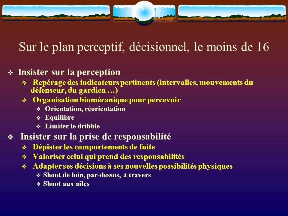 Sur le plan perceptif, décisionnel, le moins de 16 Insister sur la perception Repérage des indicateurs pertinents (intervalles, mouvements du défenseu