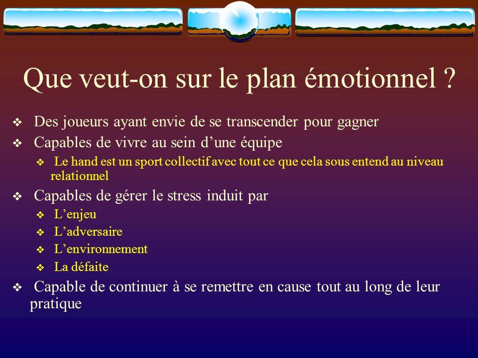 Que veut-on sur le plan émotionnel ? Des joueurs ayant envie de se transcender pour gagner Capables de vivre au sein dune équipe Le hand est un sport