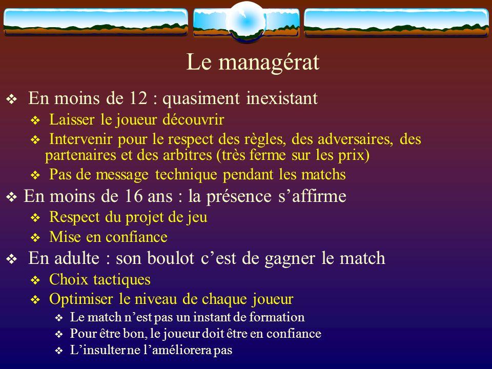 Le managérat En moins de 12 : quasiment inexistant Laisser le joueur découvrir Intervenir pour le respect des règles, des adversaires, des partenaires