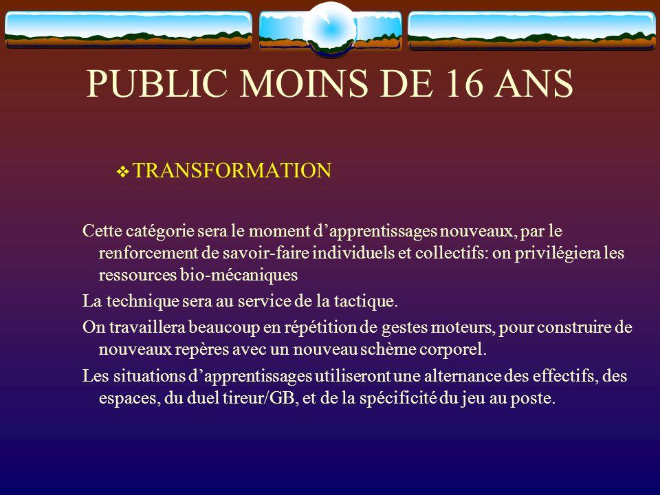 PUBLIC MOINS DE 16 ANS TRANSFORMATION Cette catégorie sera le moment dapprentissages nouveaux, par le renforcement de savoir-faire individuels et coll