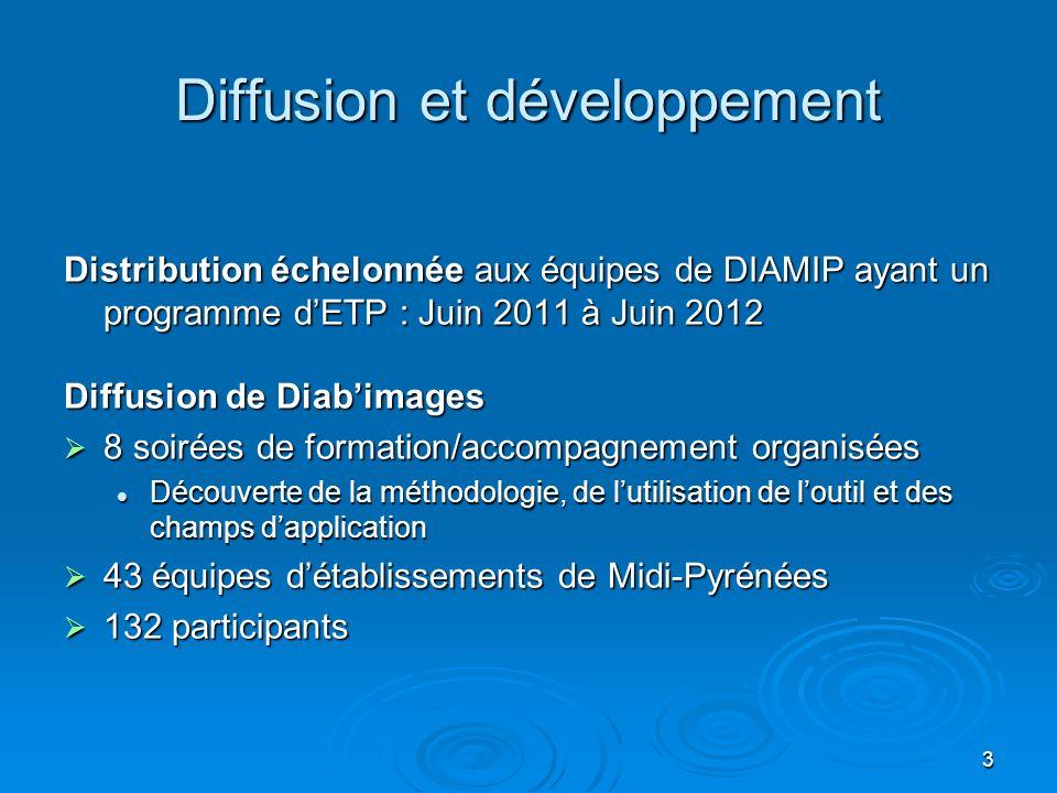 3 Diffusion et développement Distribution échelonnée aux équipes de DIAMIP ayant un programme dETP : Juin 2011 à Juin 2012 Diffusion de Diabimages 8 s