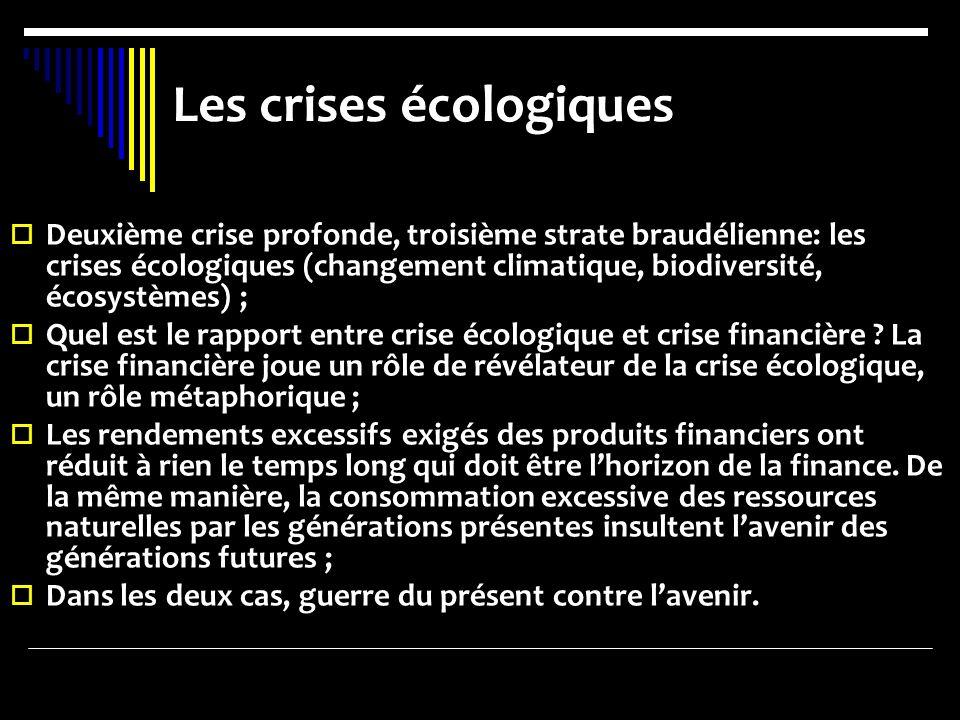 Les crises écologiques Deuxième crise profonde, troisième strate braudélienne: les crises écologiques (changement climatique, biodiversité, écosystème