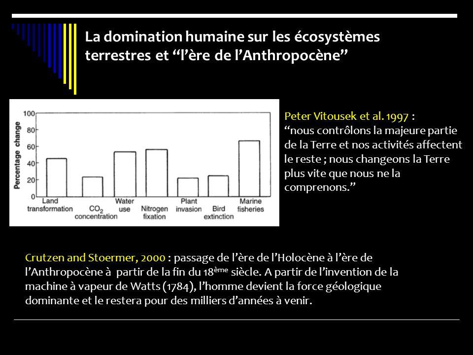 La domination humaine sur les écosystèmes terrestres et lère de lAnthropocène Peter Vitousek et al. 1997 : nous contrôlons la majeure partie de la Ter