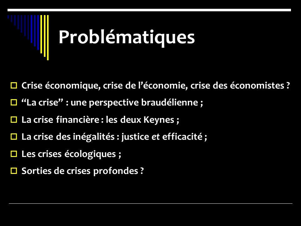 Problématiques Crise économique, crise de léconomie, crise des économistes ? La crise : une perspective braudélienne ; La crise financière : les deux