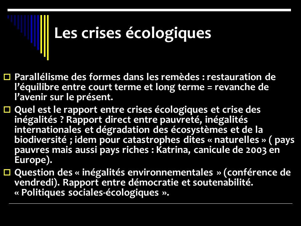 Les crises écologiques Parallélisme des formes dans les remèdes : restauration de léquilibre entre court terme et long terme = revanche de lavenir sur