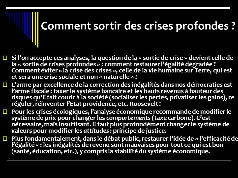 Comment sortir des crises profondes ? Si lon accepte ces analyses, la question de la « sortie de crise » devient celle de la « sortie de crises profon