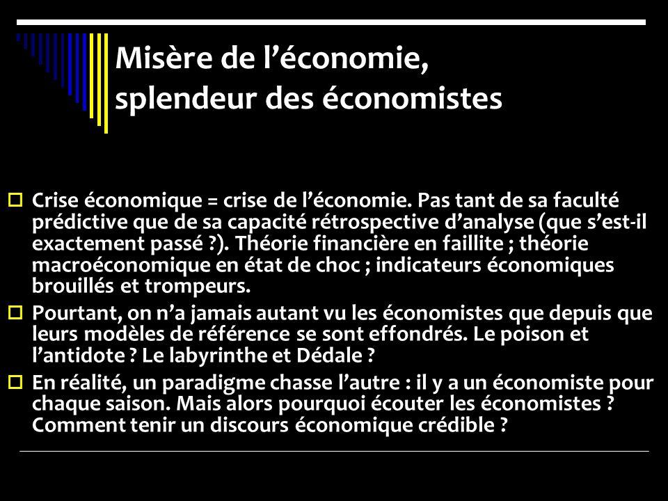 Misère de léconomie, splendeur des économistes Crise économique = crise de léconomie. Pas tant de sa faculté prédictive que de sa capacité rétrospecti