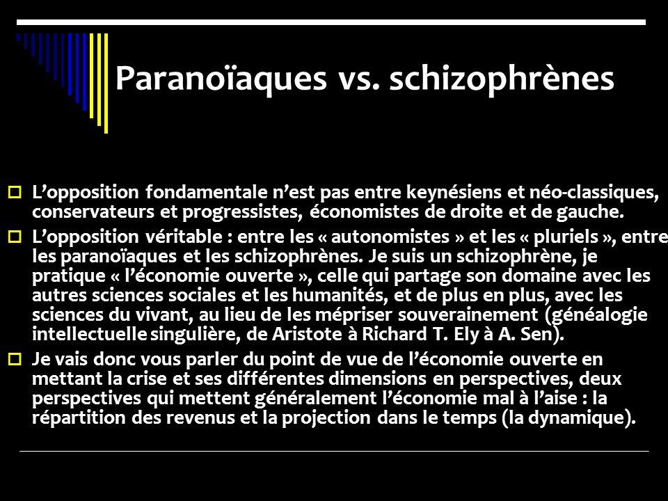 Paranoïaques vs. schizophrènes Lopposition fondamentale nest pas entre keynésiens et néo-classiques, conservateurs et progressistes, économistes de dr