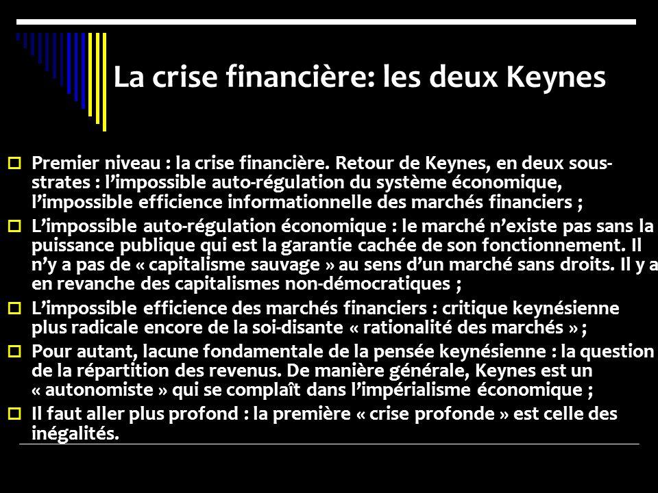 La crise financière: les deux Keynes Premier niveau : la crise financière. Retour de Keynes, en deux sous- strates : limpossible auto-régulation du sy