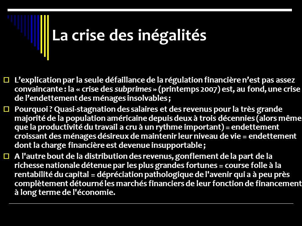 La crise des inégalités Lexplication par la seule défaillance de la régulation financière nest pas assez convaincante : la « crise des subprimes » (pr
