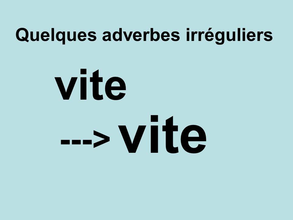 Quelques adverbes irréguliers vite ---> vite
