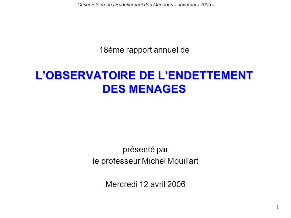 Observatoire de lEndettement des Ménages - novembre 2005 - 1 LOBSERVATOIRE DE LENDETTEMENT DES MENAGES 18ème rapport annuel de LOBSERVATOIRE DE LENDETTEMENT DES MENAGES présenté par le professeur Michel Mouillart - Mercredi 12 avril 2006 -