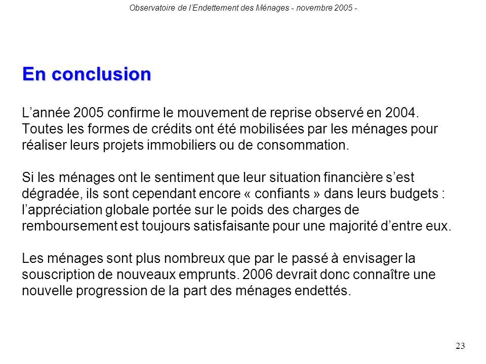 Observatoire de lEndettement des Ménages - novembre 2005 - 23 En conclusion En conclusion Lannée 2005 confirme le mouvement de reprise observé en 2004.