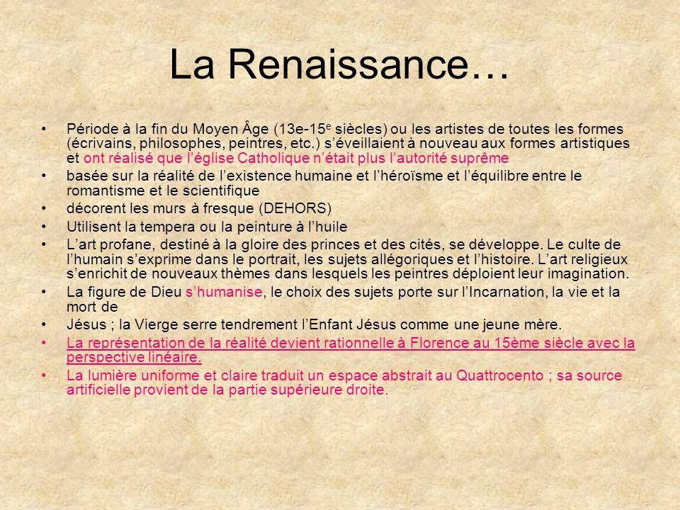La Renaissance… Période à la fin du Moyen Âge (13e-15 e siècles) ou les artistes de toutes les formes (écrivains, philosophes, peintres, etc.) séveill