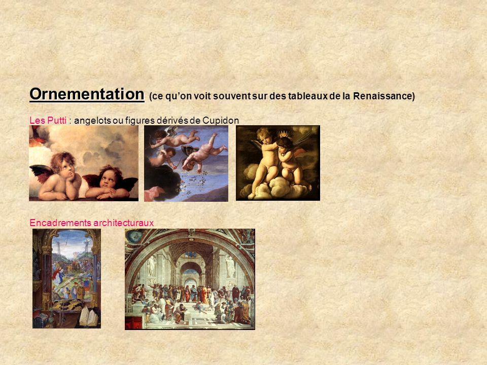 Ornementation Ornementation (ce quon voit souvent sur des tableaux de la Renaissance) Les Putti : angelots ou figures dérivés de Cupidon Encadrements