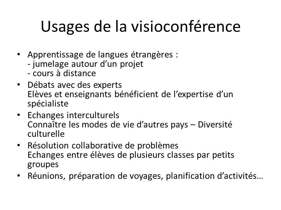 Usages de la visioconférence Apprentissage de langues étrangères : - jumelage autour dun projet - cours à distance Débats avec des experts Elèves et e
