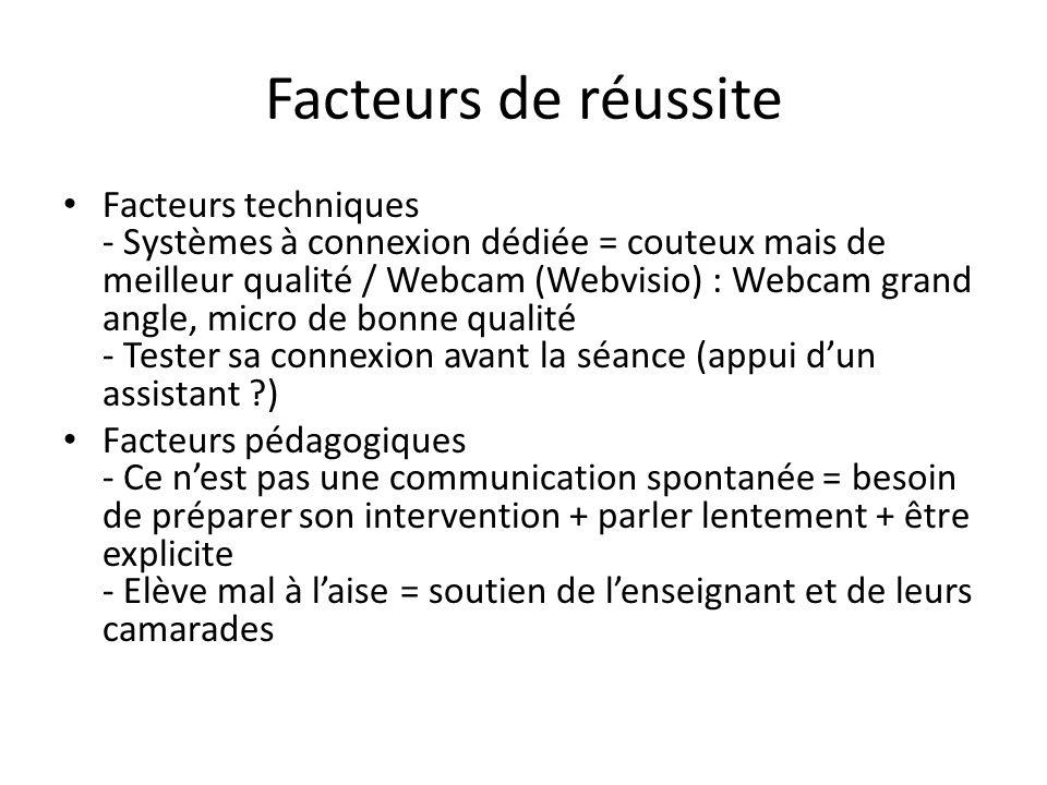 Facteurs de réussite Facteurs techniques - Systèmes à connexion dédiée = couteux mais de meilleur qualité / Webcam (Webvisio) : Webcam grand angle, mi