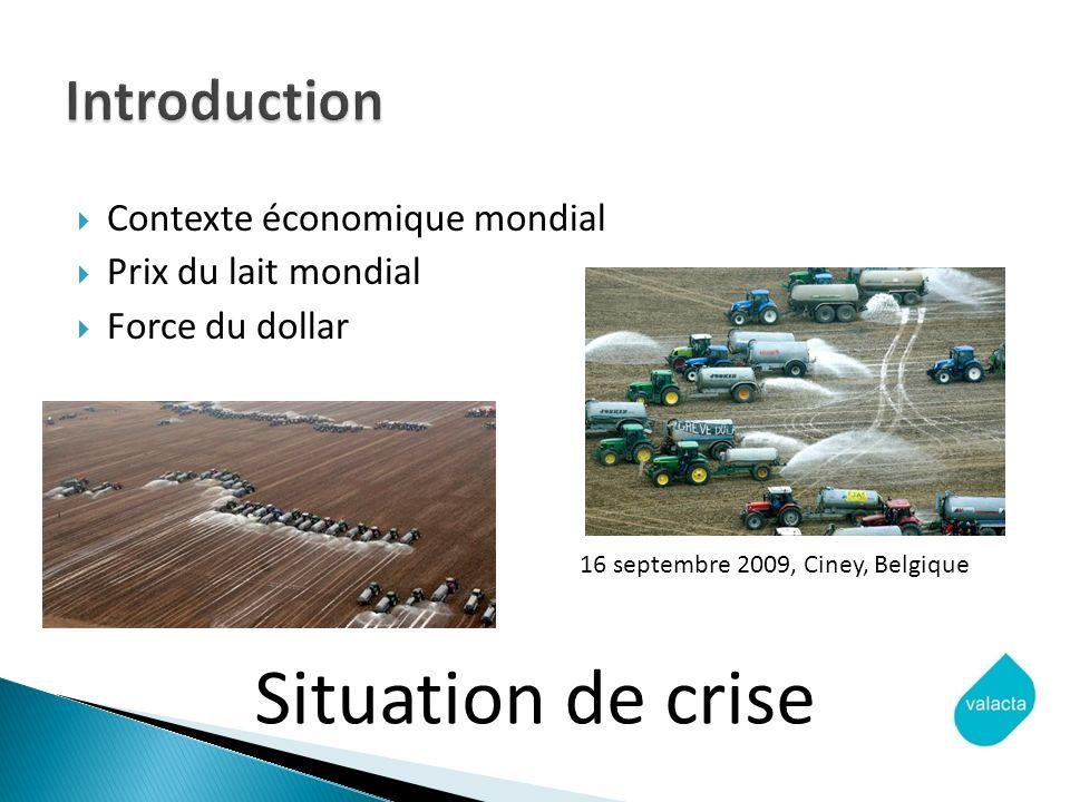 Contexte économique mondial Prix du lait mondial Force du dollar Situation de crise 16 septembre 2009, Ciney, Belgique