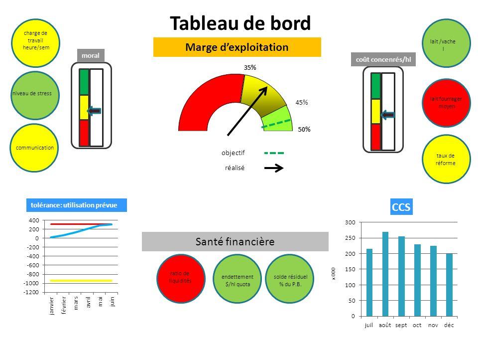 objectif réalisé moral coût concenrés/hl lait /vache l lait fourrager moyen taux de réforme charge de travail heure/sem niveau de stress endettement $