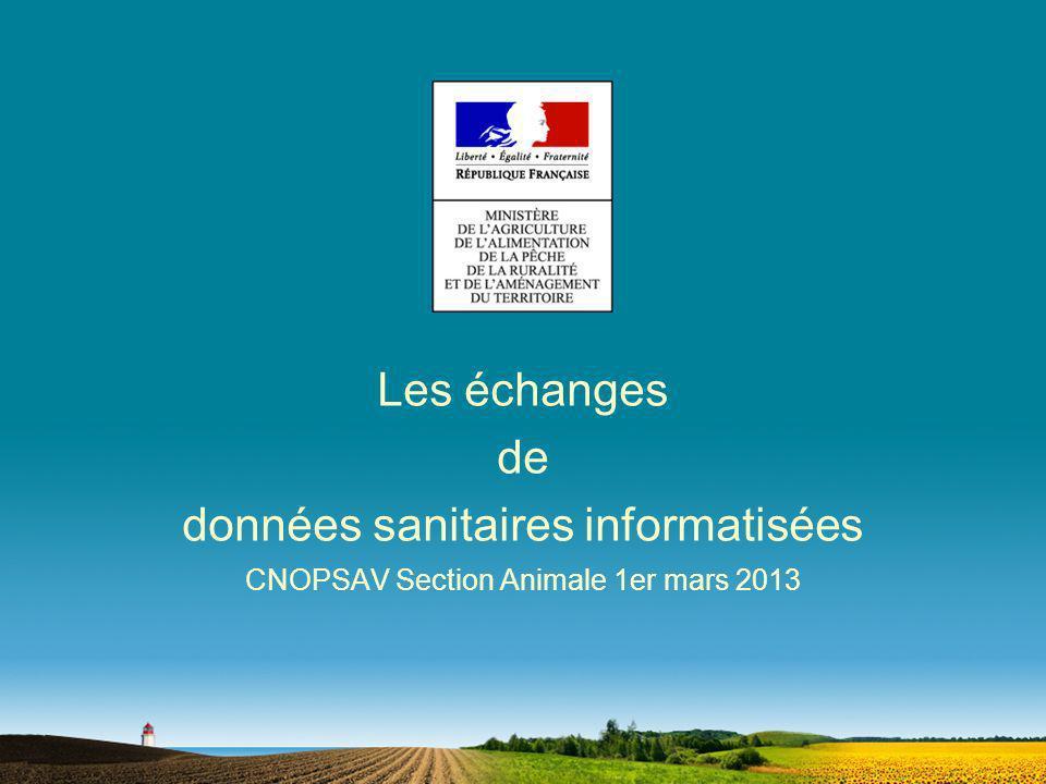 Les échanges de données sanitaires informatisées CNOPSAV Section Animale 1er mars 2013