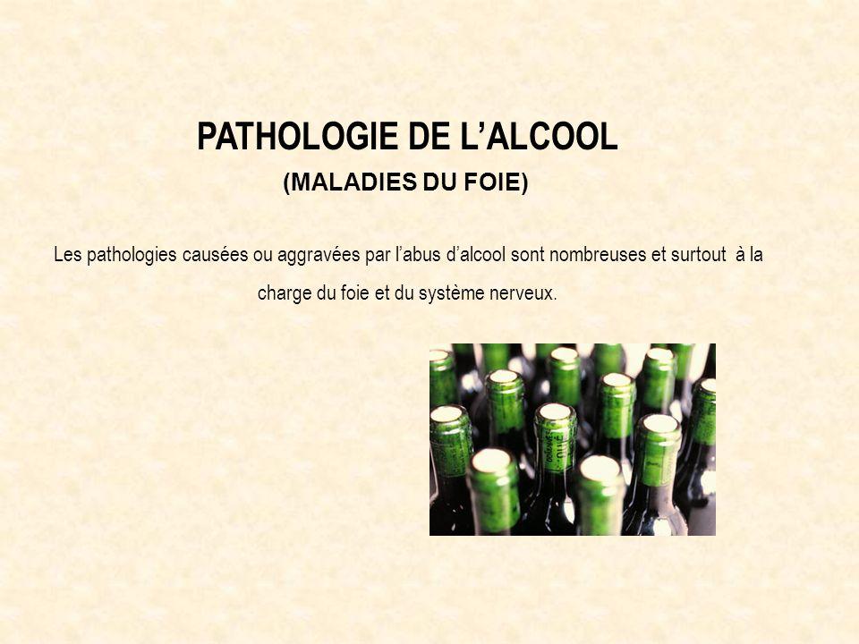 PATHOLOGIE DE LALCOOL (MALADIES DU FOIE) Les pathologies causées ou aggravées par labus dalcool sont nombreuses et surtout à la charge du foie et du système nerveux.