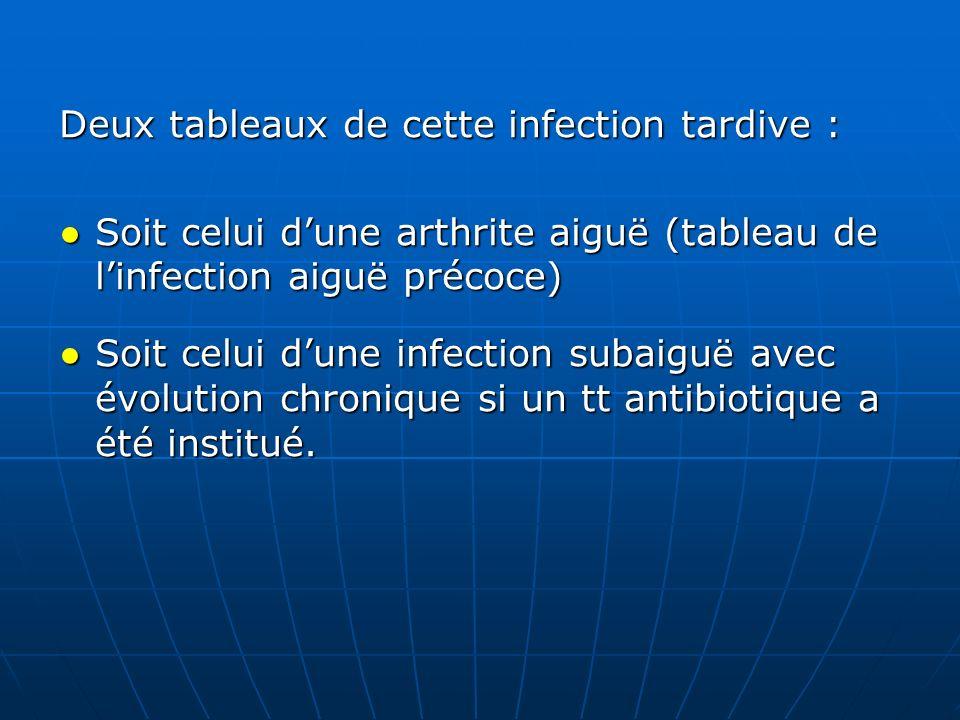 Deux tableaux de cette infection tardive : Soit celui dune arthrite aiguë (tableau de linfection aiguë précoce) Soit celui dune arthrite aiguë (tablea