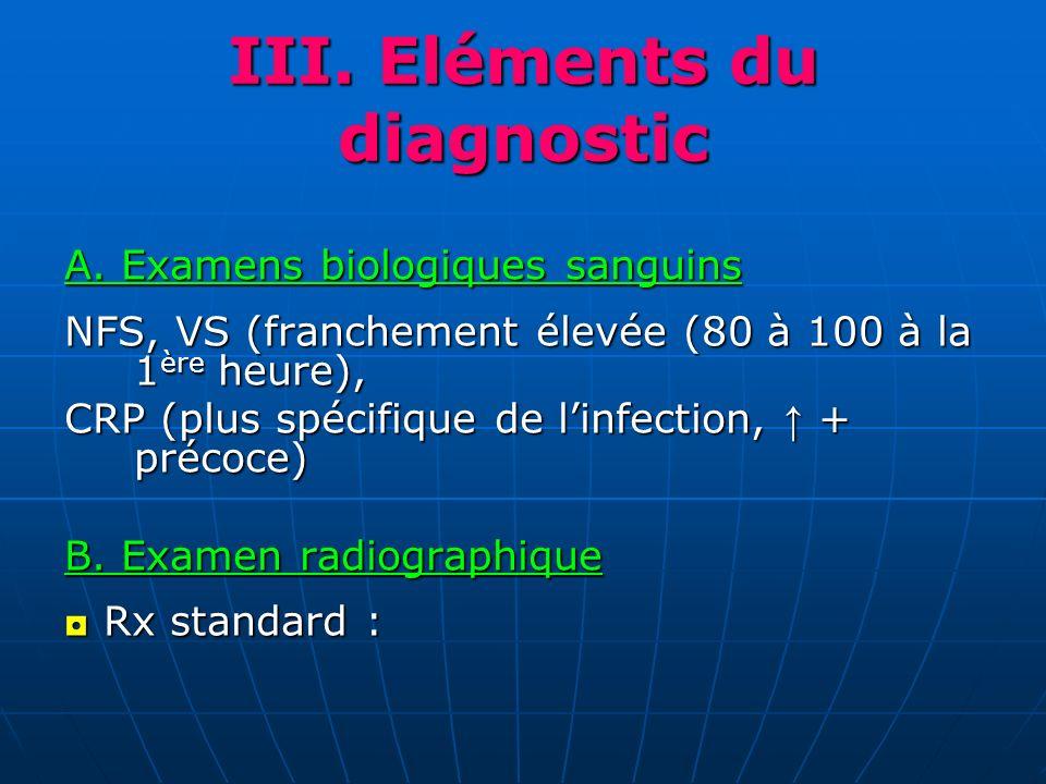 III. Eléments du diagnostic A. Examens biologiques sanguins NFS, VS (franchement élevée (80 à 100 à la 1 ère heure), CRP (plus spécifique de linfectio