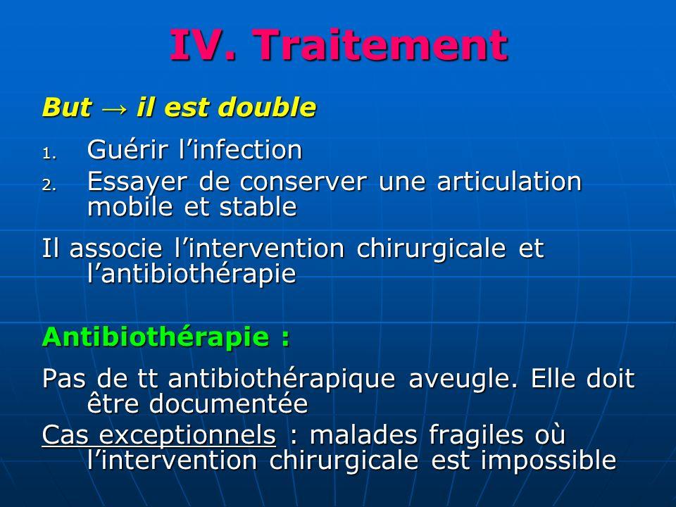 IV. Traitement But il est double 1. Guérir linfection 2. Essayer de conserver une articulation mobile et stable Il associe lintervention chirurgicale