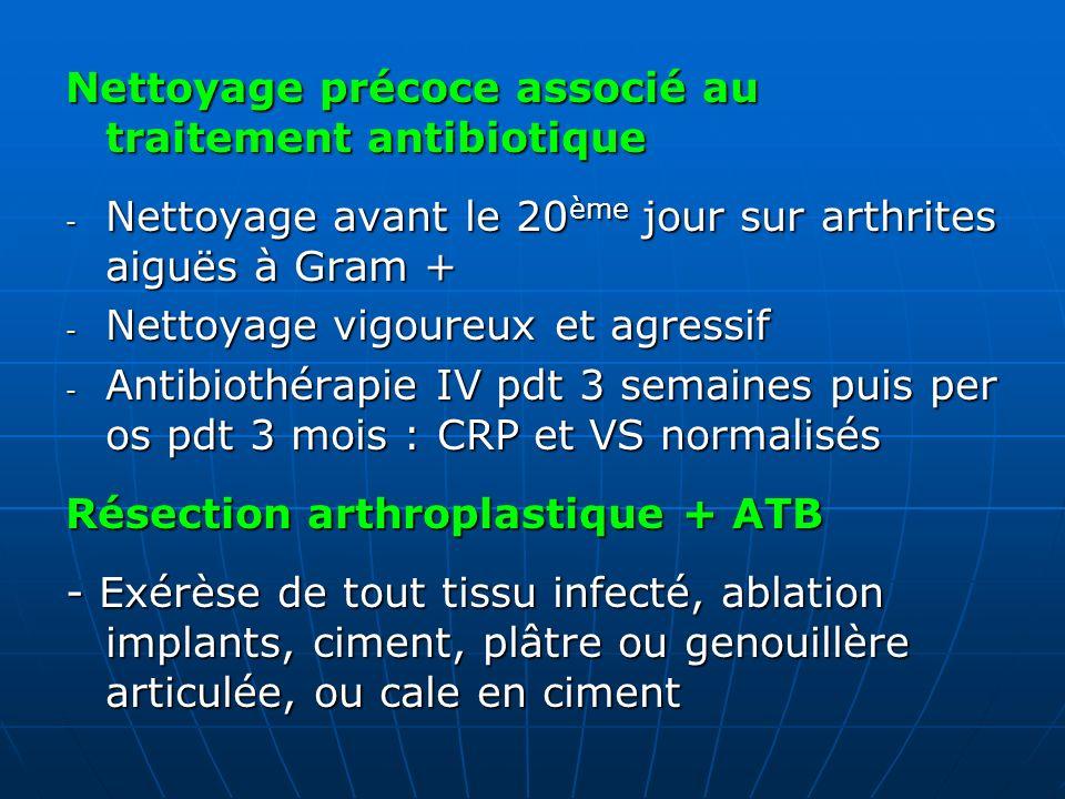 Nettoyage précoce associé au traitement antibiotique - Nettoyage avant le 20 ème jour sur arthrites aiguës à Gram + - Nettoyage vigoureux et agressif
