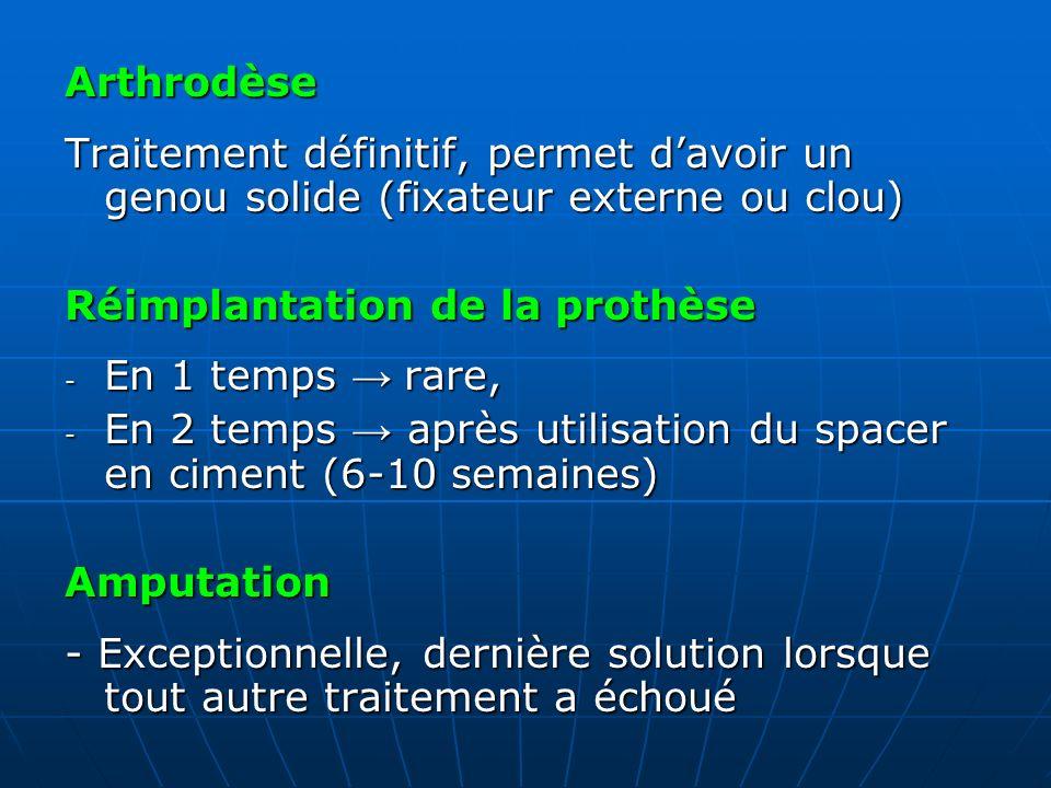 Arthrodèse Traitement définitif, permet davoir un genou solide (fixateur externe ou clou) Réimplantation de la prothèse - En 1 temps rare, - En 2 temp
