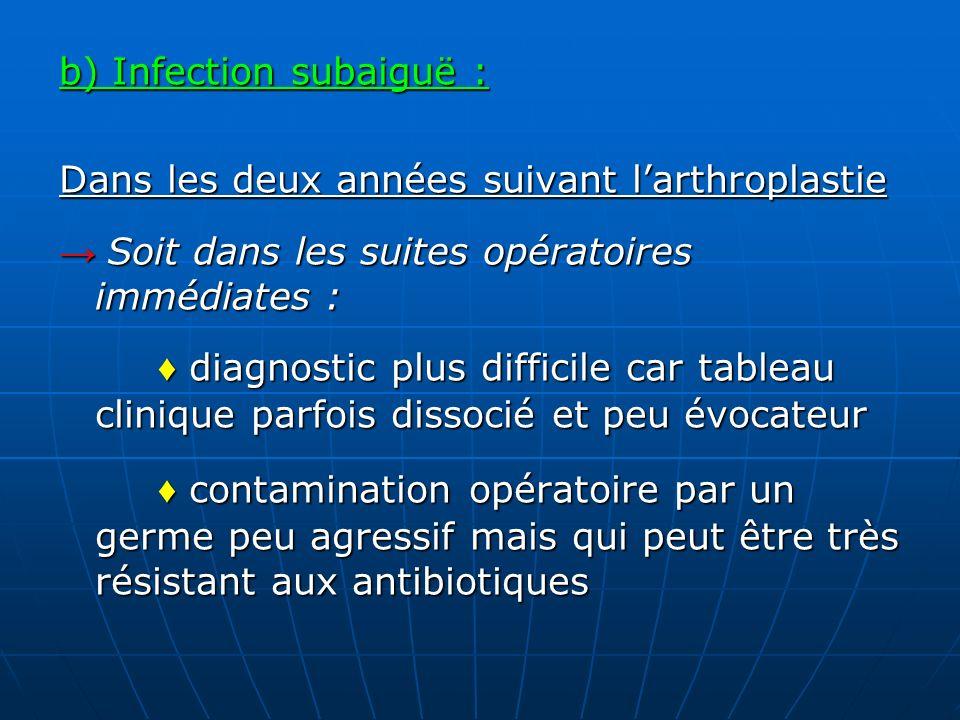b) Infection subaiguë : Dans les deux années suivant larthroplastie Soit dans les suites opératoires immédiates : Soit dans les suites opératoires imm