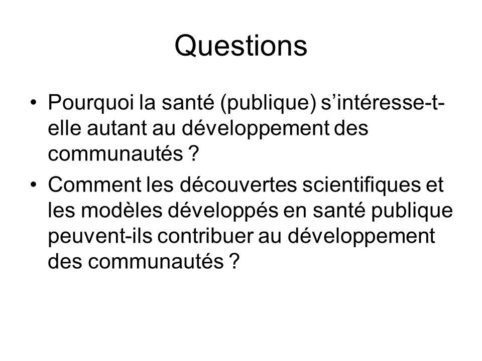 Questions Pourquoi la santé (publique) sintéresse-t- elle autant au développement des communautés ? Comment les découvertes scientifiques et les modèl