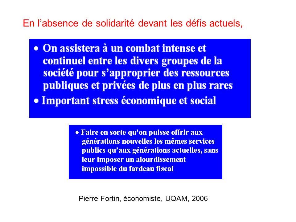 En labsence de solidarité devant les défis actuels, Pierre Fortin, économiste, UQAM, 2006