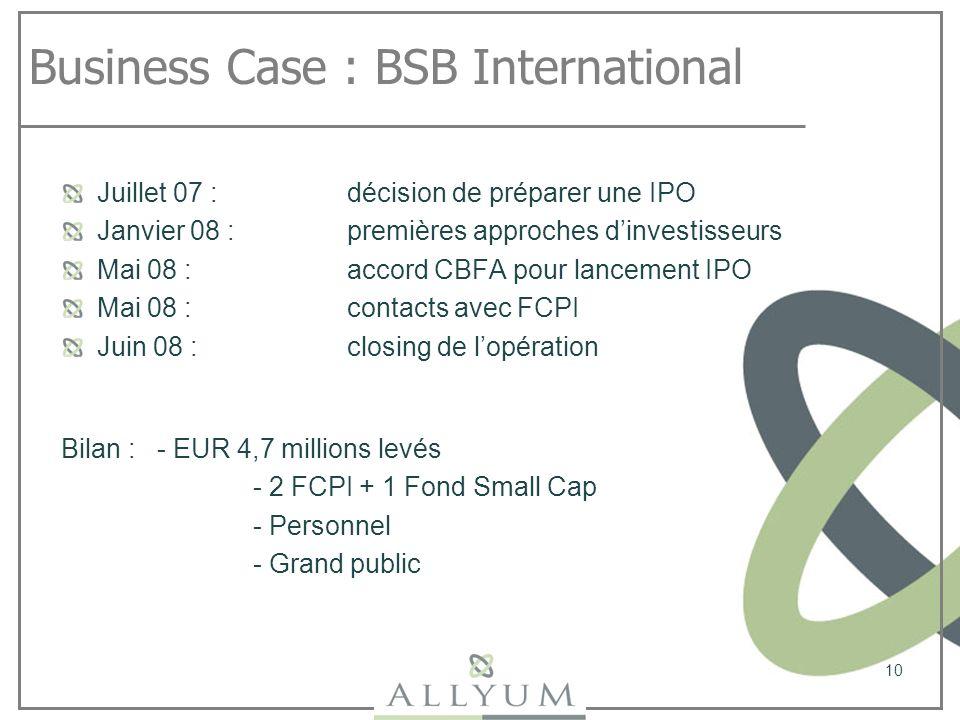 Business Case : BSB International Juillet 07 : décision de préparer une IPO Janvier 08 : premières approches dinvestisseurs Mai 08 : accord CBFA pour
