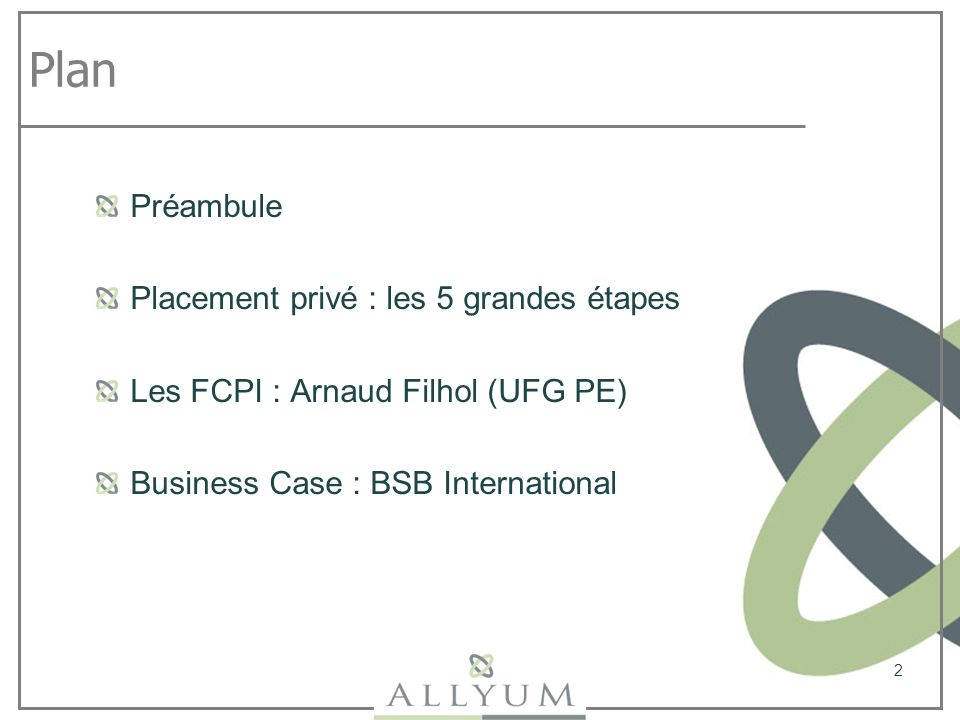 Plan Préambule Placement privé : les 5 grandes étapes Les FCPI : Arnaud Filhol (UFG PE) Business Case : BSB International 2