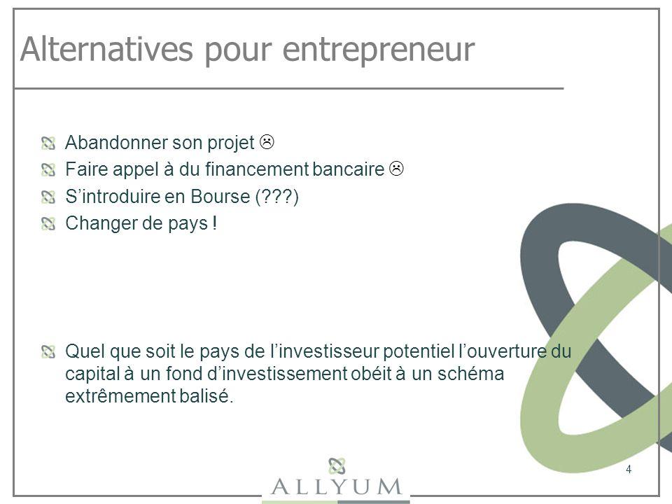Alternatives pour entrepreneur Abandonner son projet Faire appel à du financement bancaire Sintroduire en Bourse (???) Changer de pays ! 4 Quel que so