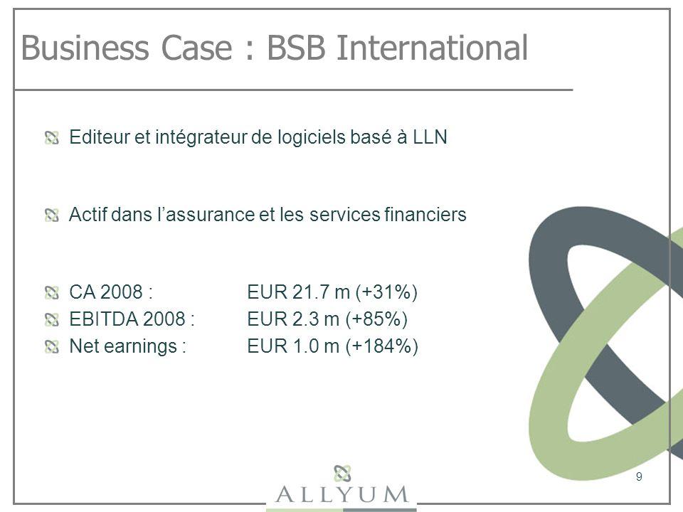 Business Case : BSB International Editeur et intégrateur de logiciels basé à LLN Actif dans lassurance et les services financiers CA 2008 : EUR 21.7 m