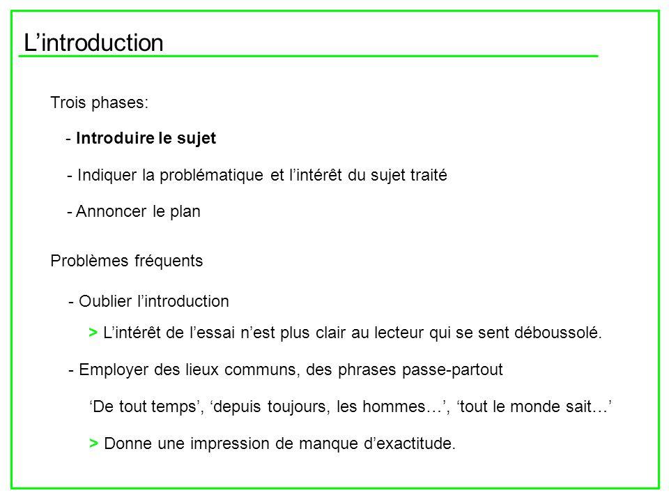 Lintroduction Trois phases: - Introduire le sujet - Indiquer la problématique et lintérêt du sujet traité - Annoncer le plan Problèmes fréquents - Oub