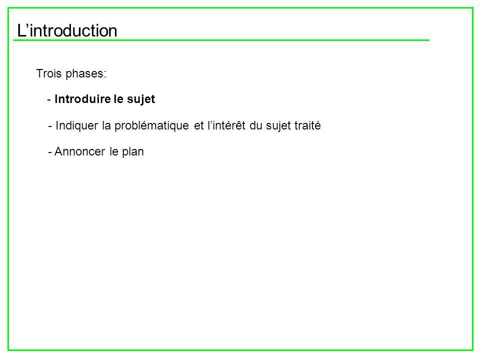 Lintroduction Trois phases: - Introduire le sujet - Indiquer la problématique et lintérêt du sujet traité - Annoncer le plan