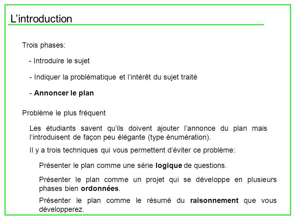Lintroduction Trois phases: - Introduire le sujet - Indiquer la problématique et lintérêt du sujet traité - Annoncer le plan Problème le plus fréquent