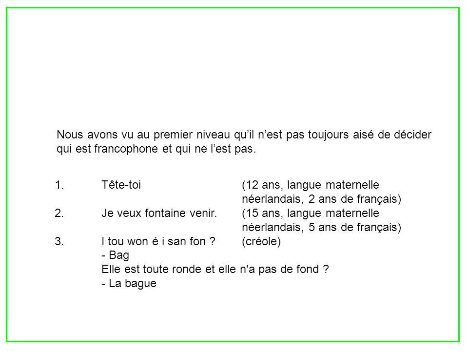 1.Tête-toi(12 ans, langue maternelle néerlandais, 2 ans de français) 2.Je veux fontaine venir.(15 ans, langue maternelle néerlandais, 5 ans de françai
