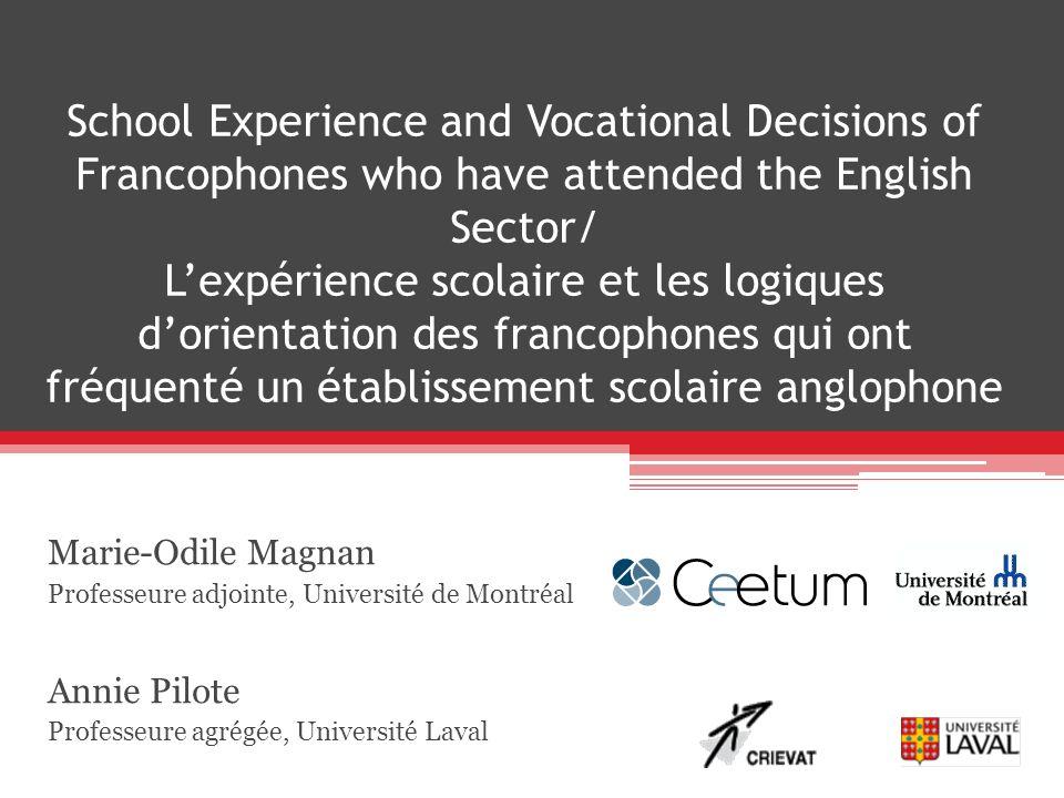 School Experience and Vocational Decisions of Francophones who have attended the English Sector/ Lexpérience scolaire et les logiques dorientation des